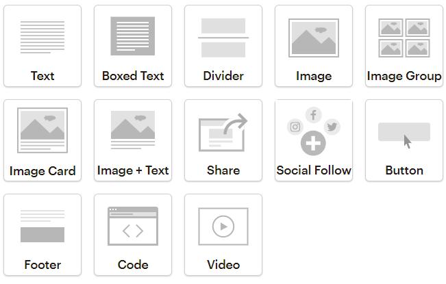 Блоки в конструкторе MailChimp