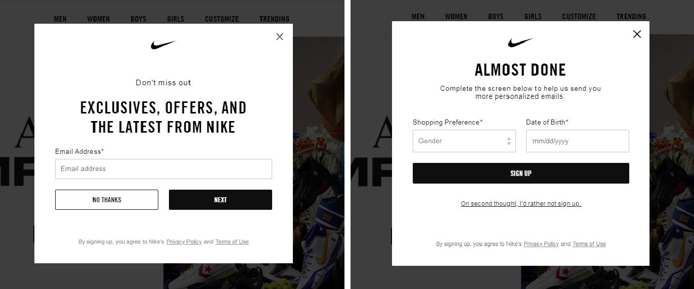 Попапы на сайте Nike.