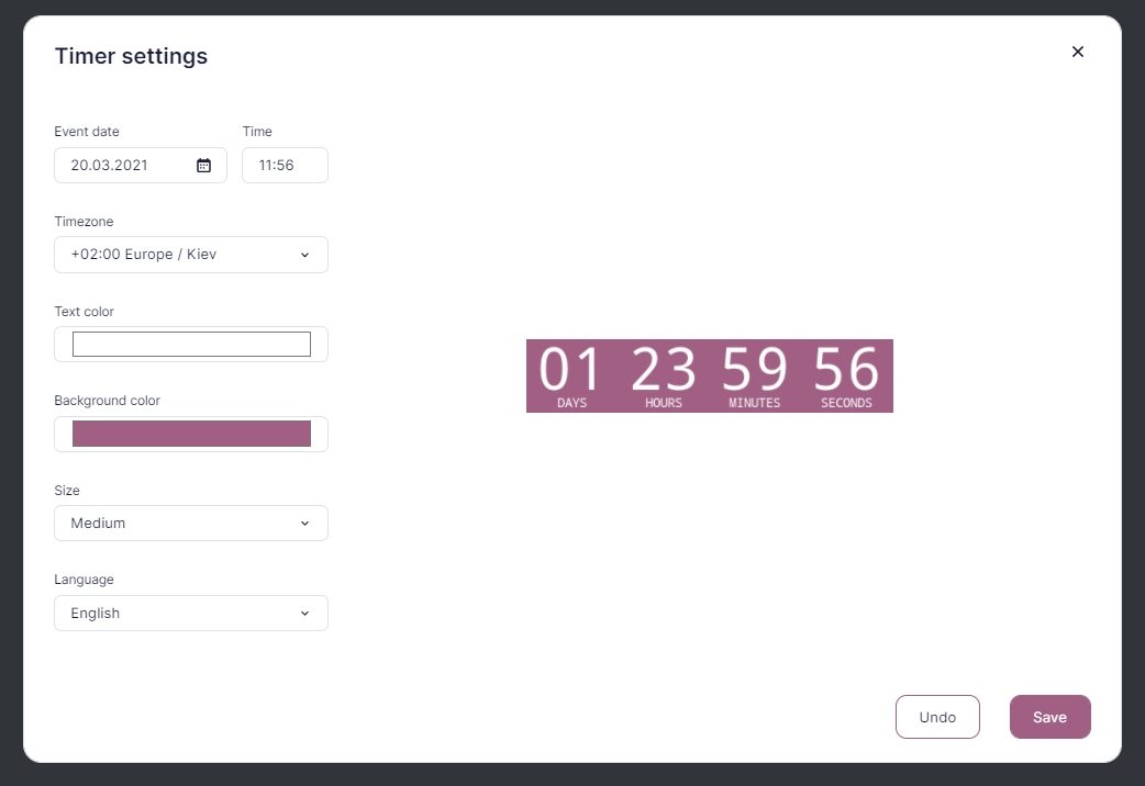Configuring the countdown timer.