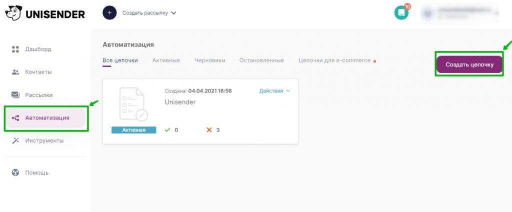Расположение Автоматизации в меню сервисов UniSender