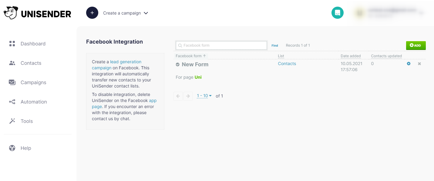 The form will be displayed in your list of integrations