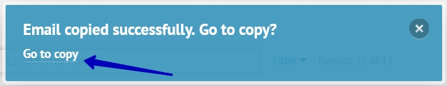 The link opening the copy that you'll see after clicking the Create a Copy button.