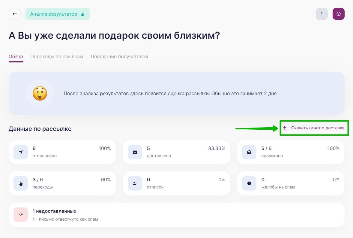 Кнопка «Скачать отчет о доставке» в разделе «Обзор» отчета о рассылки в UniSender