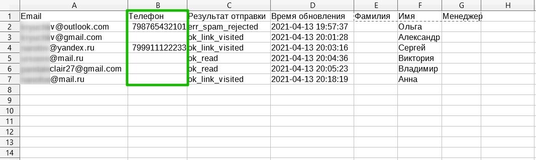 Столбец «Телефон» в отчете о доставке в формате CSV