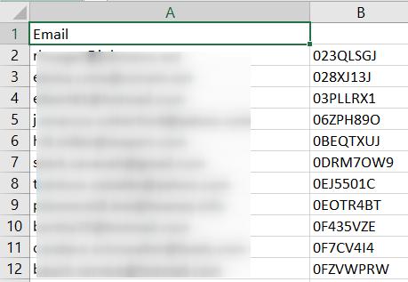 Промокоды в файле