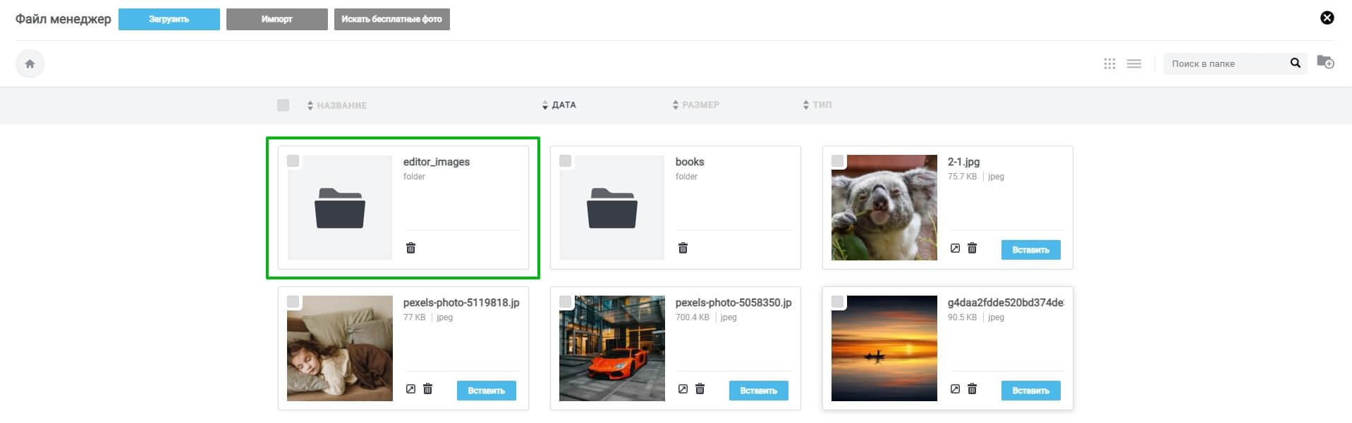 Папка «editor_images», в которой хранятся отредактированные изображения