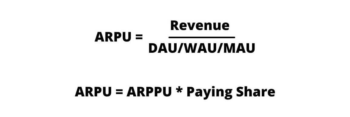 Формулы расчета ARPU